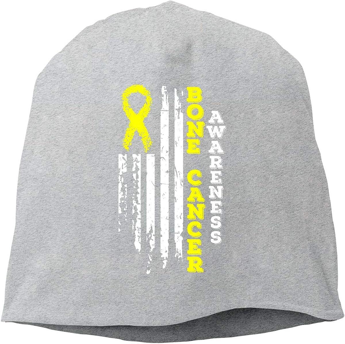 USA Flag Bone Cancer Awareness Unisex Knitted Hat Beanie Hat Warm Hats Skull Cap
