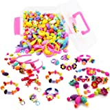 WTOR おもちゃ ビーズ アクセサリーキット DIY材料 手作り 知育玩具 メイキングトイ 女の子 子供のお誕生日プレゼント (500PCS 収納ケース付け)