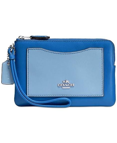 Coach - Cartera de mano con asa para mujer azul Silver/Lapis Cornflower: Amazon.es: Zapatos y complementos