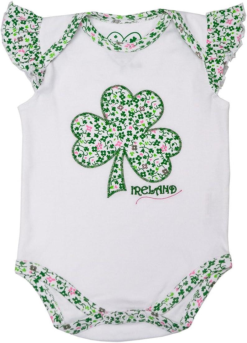 White and Green Ireland Floral Print Shamrock Applique Baby Vest Onesie