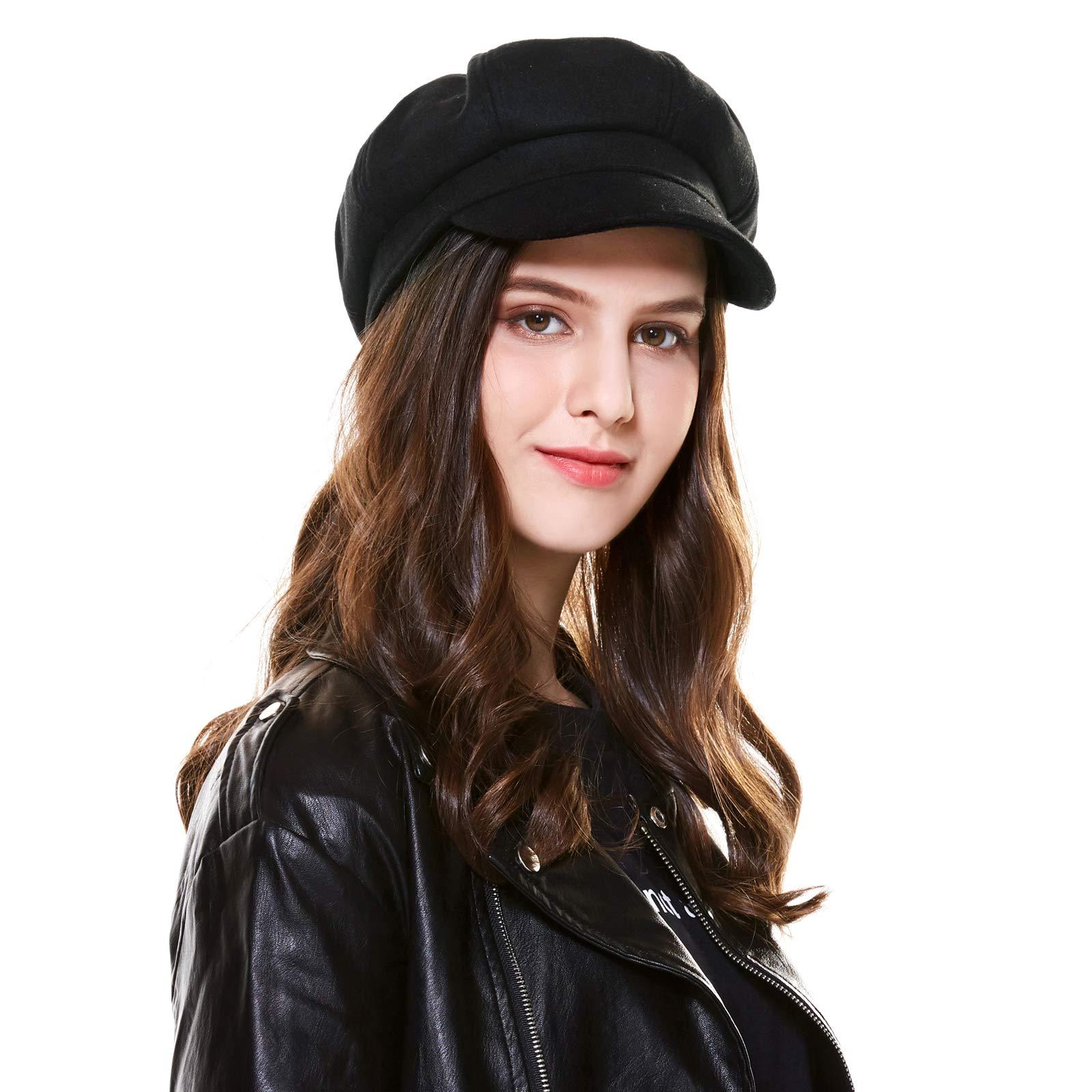 Kajeer Vintage Wool Floppy Adjustable Newsboys Hats for Women
