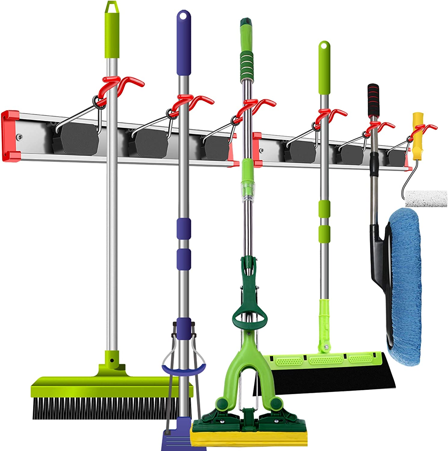 WALMANN Aluminium Alloy Broom and Mop Holder, Space Saving Wall Mounted Organizers and Storage for Home, Broom Holder and Wall Tool Organizer for Garage Storage System, Pack of 2 (Total 6 Holders)