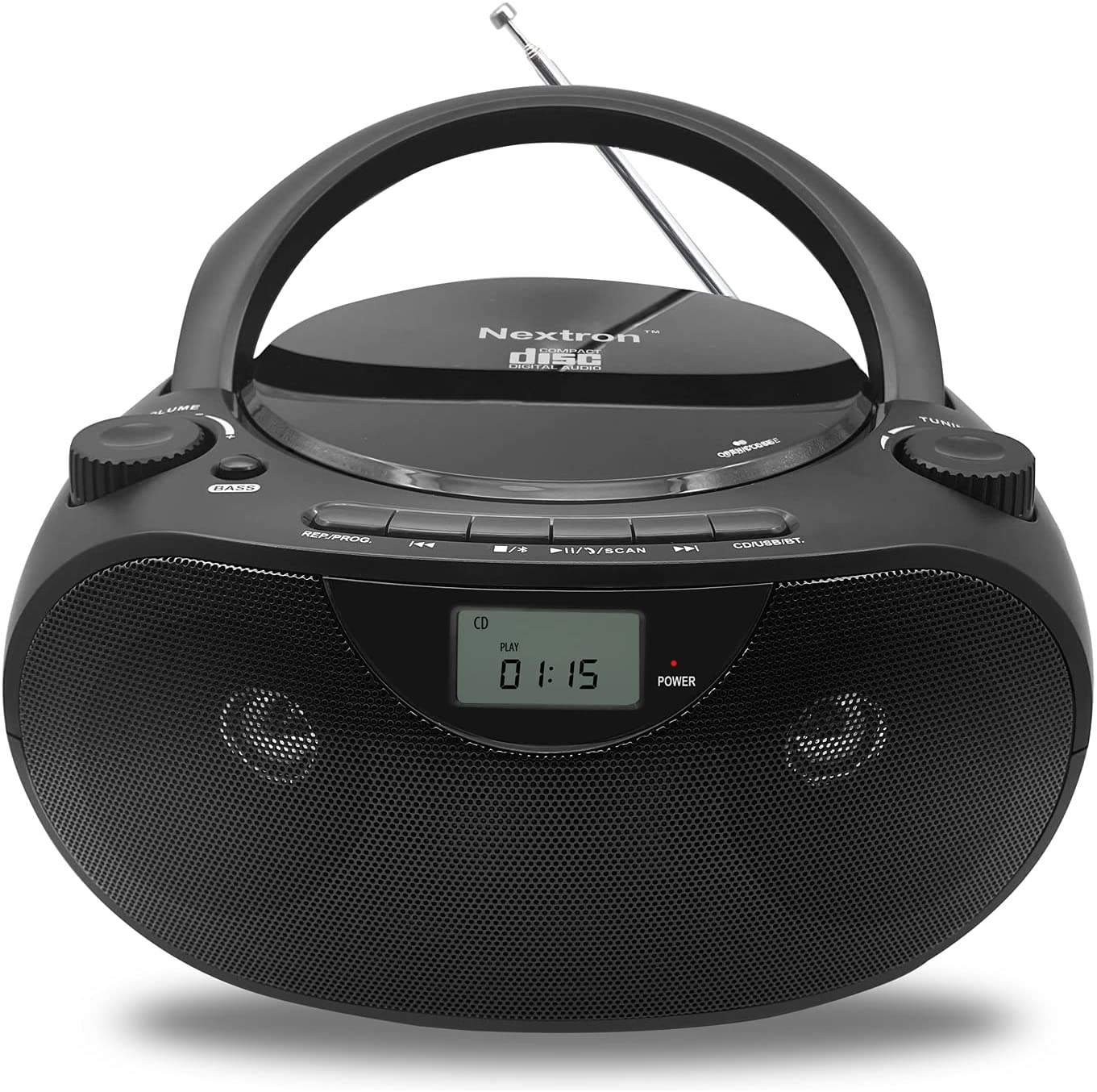 Nextron Portable Bluetooth CD Player Boombox with AM/FM Radio Stereo Sound System, Playback CD/MP3/WMA, USB & AUX Ports, Headphone Jack, LCD Display, AC/DC Operated