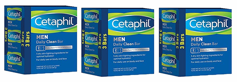 Cetaphil Men Daily Clean Bars, 13.5 Ounce, 3-Pack (Pack of 3) 9 Bars Total