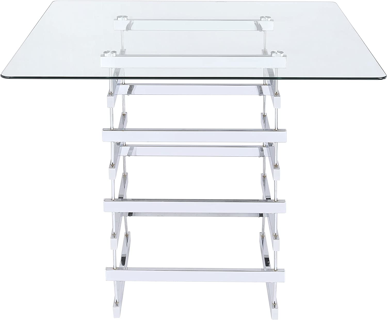 ACME Furniture Dining Table, One Size, Chrome Clear Glass