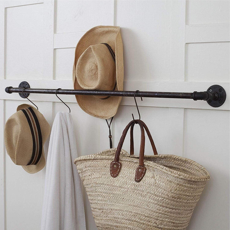 Dreecy 24 Pack Heavy-Duty S Shaped Hooks Black Finish Steel Rustproof S Type Kitchen Hooks Hangers for Hanging Pans Pots Plants Bags Towels
