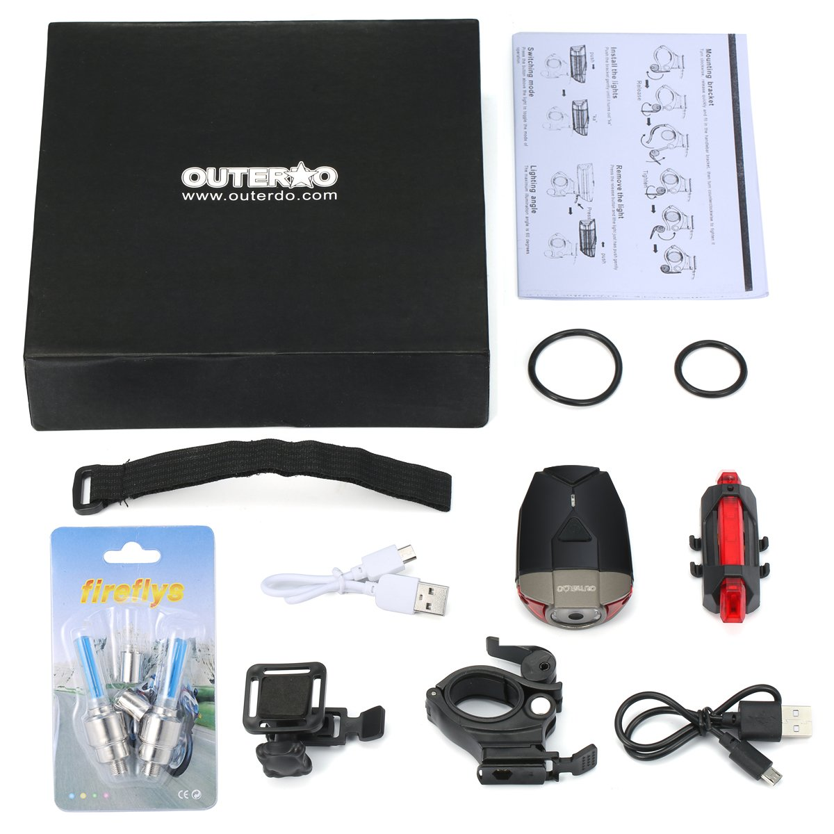 OUTERDO USB Rechargeable Bike Light Set 3-Mode 300 Lumens Super Bright Waterproof Power Saving Bike Headlight with Red Rear Light for Easy Installation /& Safe Cycling at Night Black