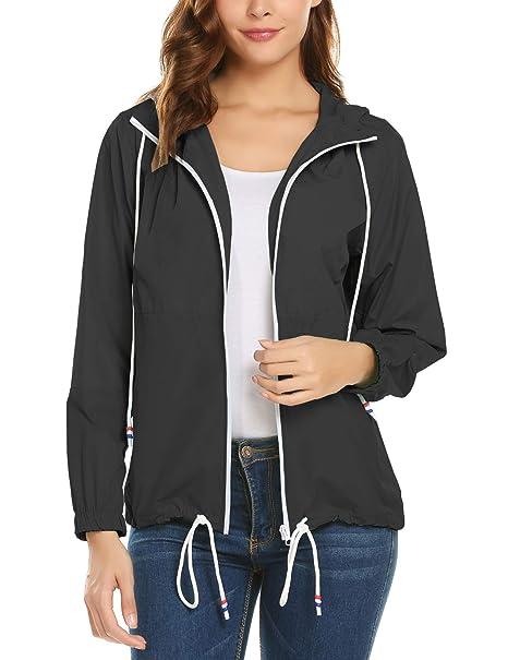 Amazon.com: Chaqueta impermeable para mujer con capucha ...