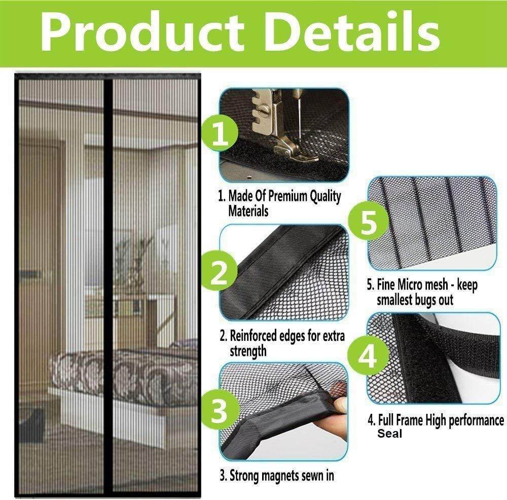 Magnetic mesh Bug Screen Door,Fiberglass Heavy Duty Mosquito Mesh Door Screen with Magnet Pet and Kid Friendly French Door Sliding Patio Door Double Door