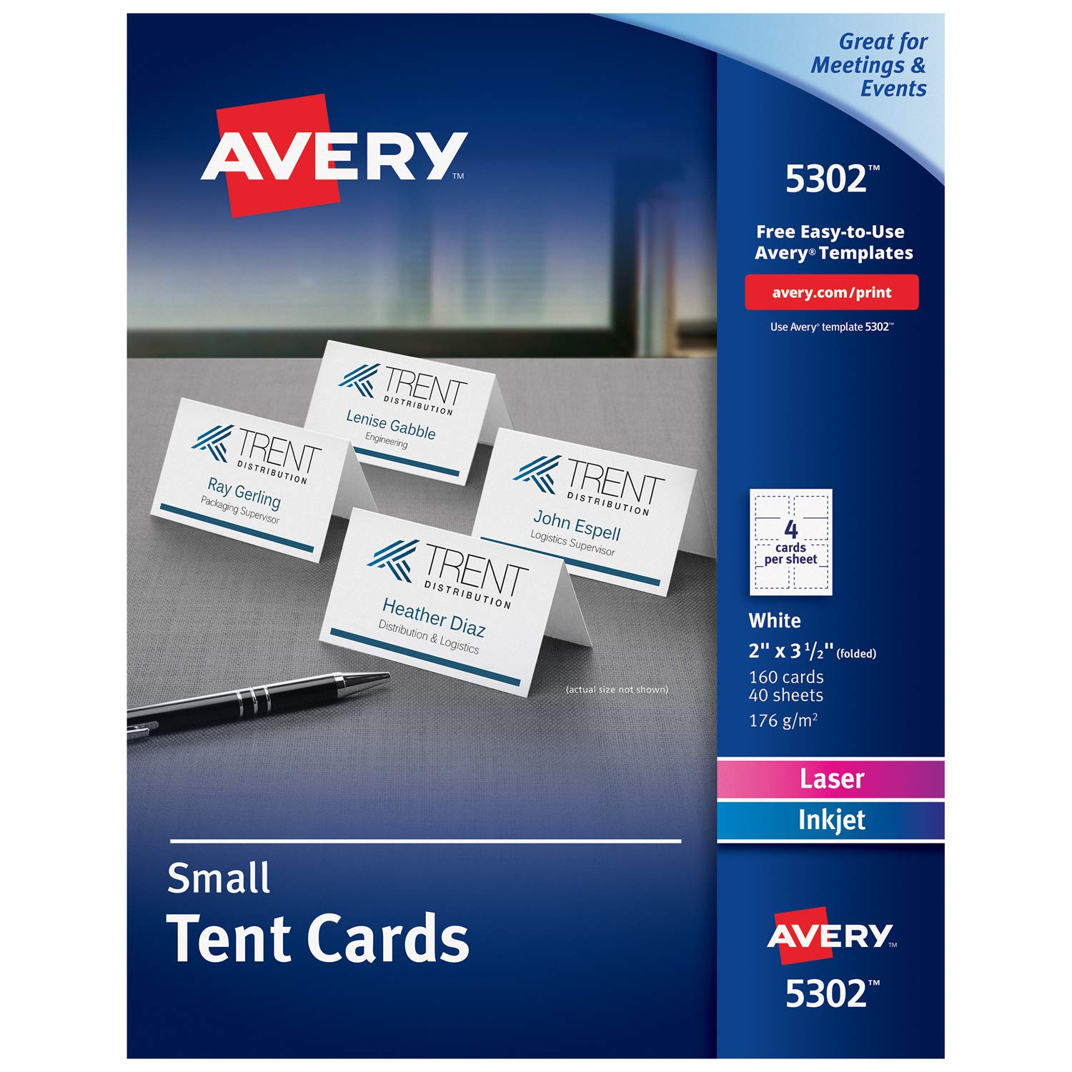 Avery Place Cards, Laser & Inkjet Printers, 160 Printable Cards, 2 x 3.5 (5302), White by AVERY