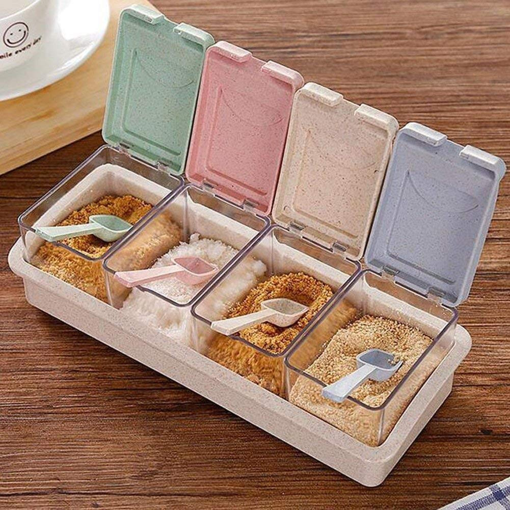 Tarros del condimento box4 Rejillas separable transparente de cocina especia Az/úcar Sal frasco sellado tarro