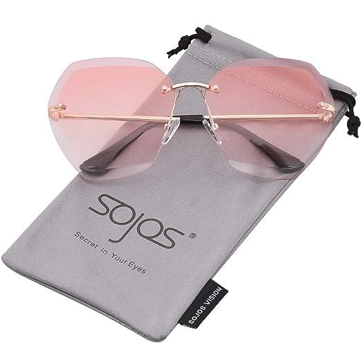 c8f45d48554d SOJOS Oversized Rimless Sunglasses for Women Diamond Cutting Glasses SJ1073  (C3 Gold Frame Gradient
