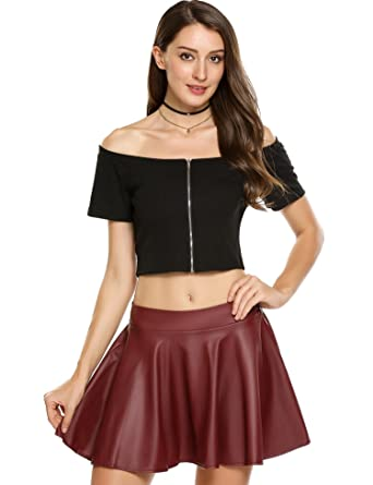 83bcf17f442 Zeagoo Women s Sexy Fitted Solid Ribbed Shirts Front Zip up Off Shoulder  Crop Tops