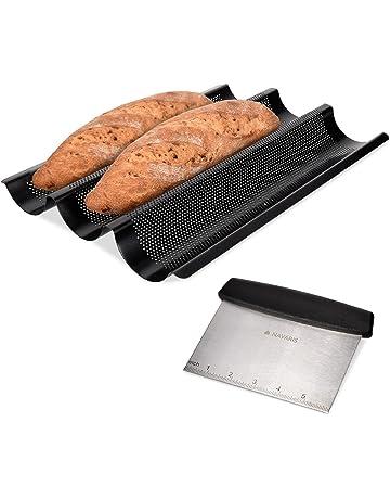 Navaris Molde para Hacer Baguette con espátula - Molde de Acero Inoxidable para baguettes - Set