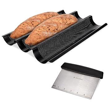 Navaris Molde para Hacer Baguette con espátula - Molde de Acero Inoxidable para baguettes - Set de 1x Bandeja para Pan con 1x raspador: Amazon.es: Hogar