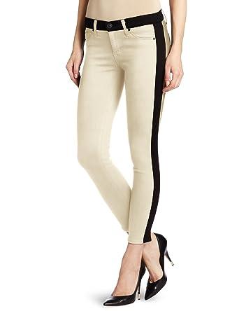 2c5d007a762 Hudson Jeans Women's Lee Loo Tuxedo Stripe Super Skinny Jean, Bone, ...