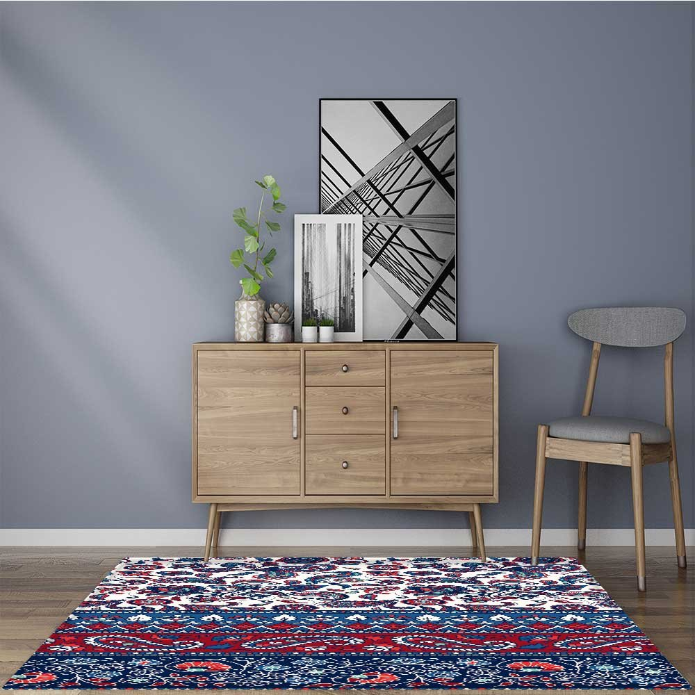 Stain Resistant striped seamless pattern floral wallpaper colorful ornamental border Rug for Kitchens 22''x36''
