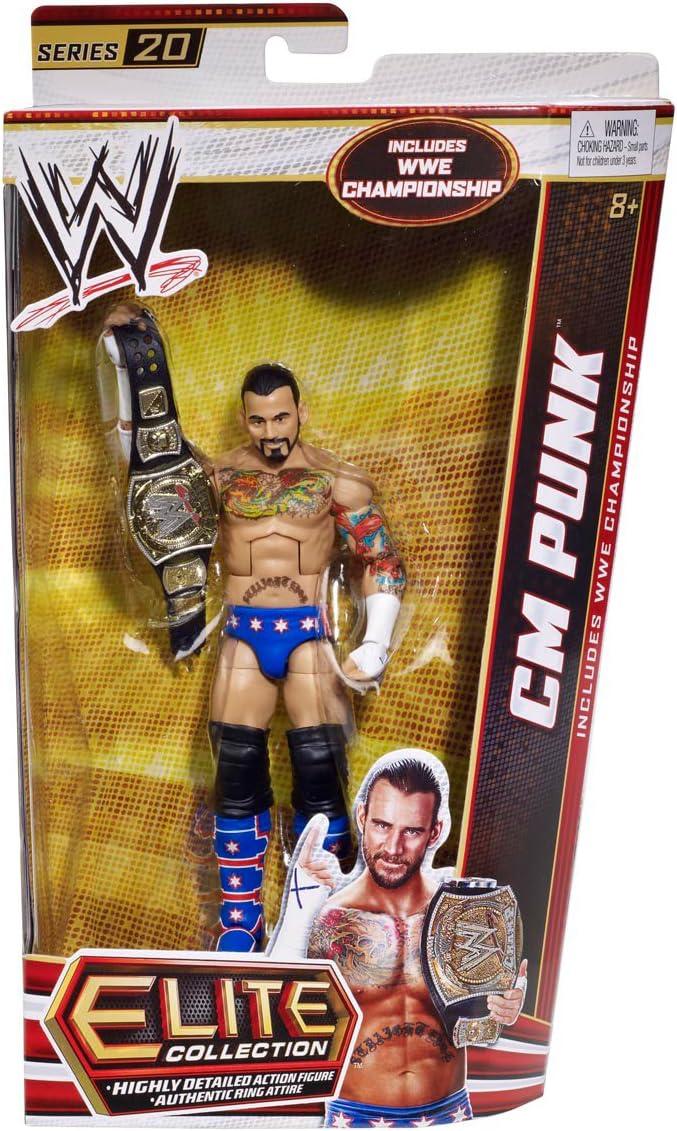 WWE Elite 20 CM Punk w// Championship Belt Wrestling Action Figure Loose Kid Toy