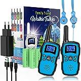 Wishouse M8 Walkie Talkie Niños Recargable Bateria 2X3000mAh Cargador USB,Portátil Walkie-Talkie Largo Alcance con…