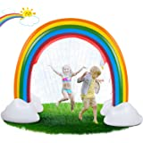 lenbest Rainbow Sprinkler Toys, 95'' Wider Summer Inflatable Water Toys Outdoor Backyard Party Pool Summer Sprinkler Toy for Children Infants Boys Girls and Kids Summer Spray Water Toy