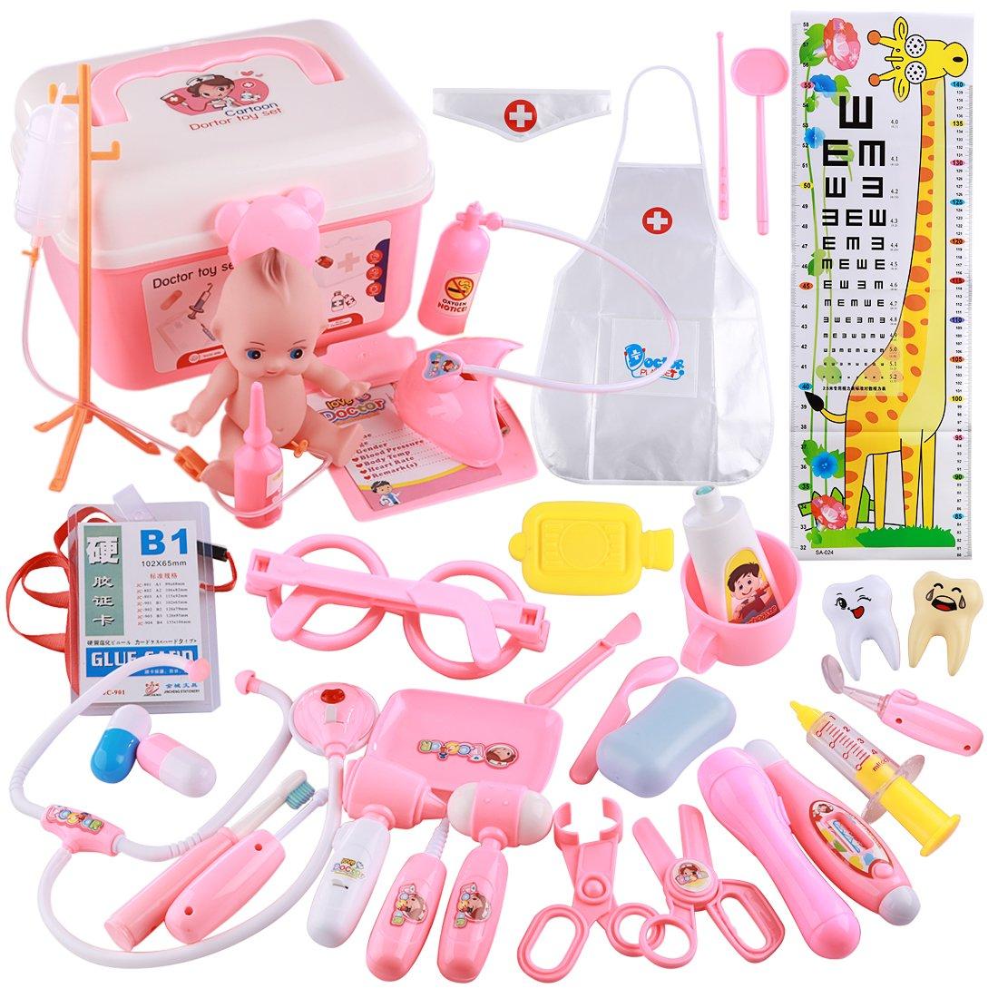 WEIZQ 37er Set Arztköfferchen Doktor Kinder Doktorkoffer Spielzeug Kinderarztkoffer Arztkoffer für Kinder ab 3 Jahren