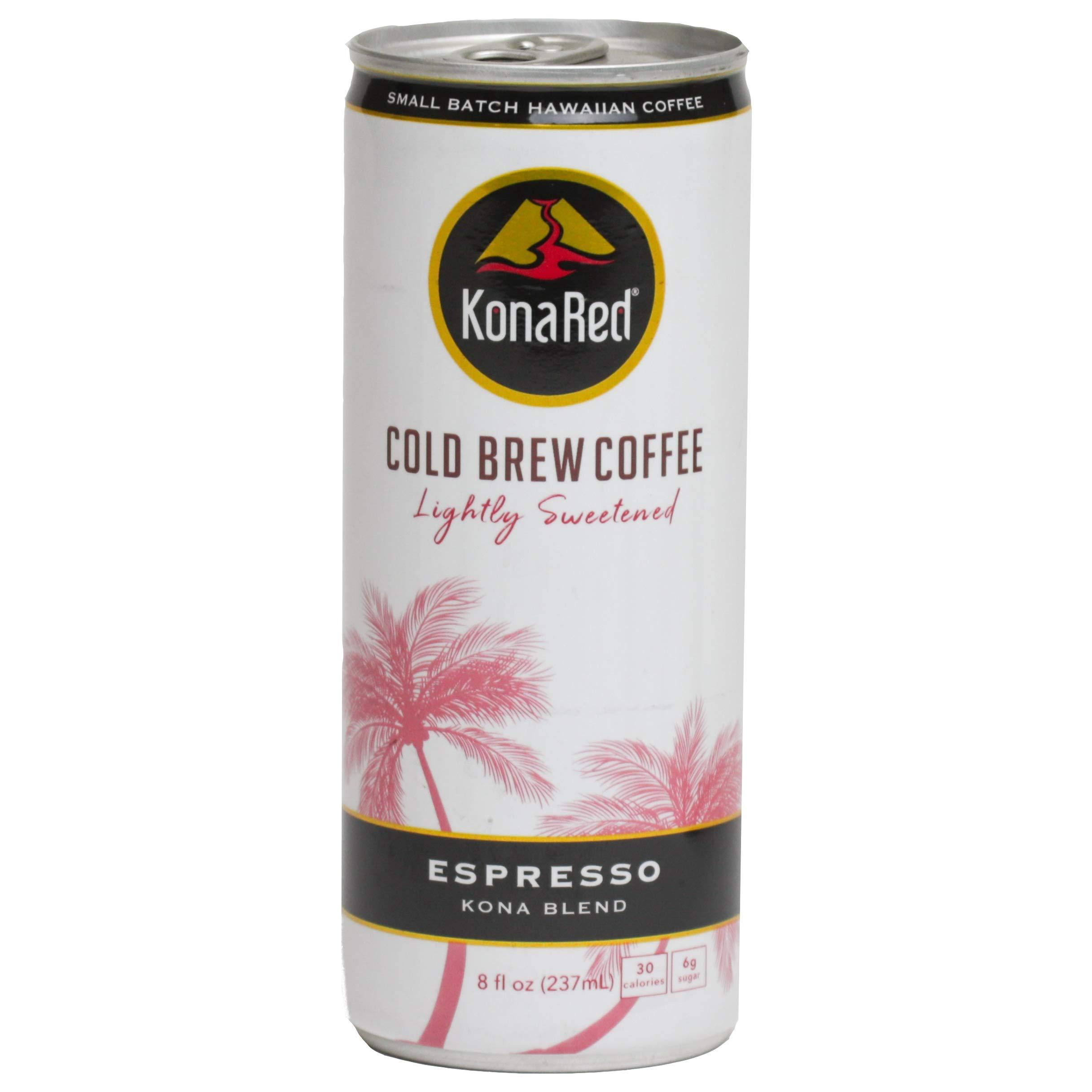 KonaRed Premium Cold Brew Kona Coffee Estate Grown, 8 oz Can - Case of 12 (Espresso)