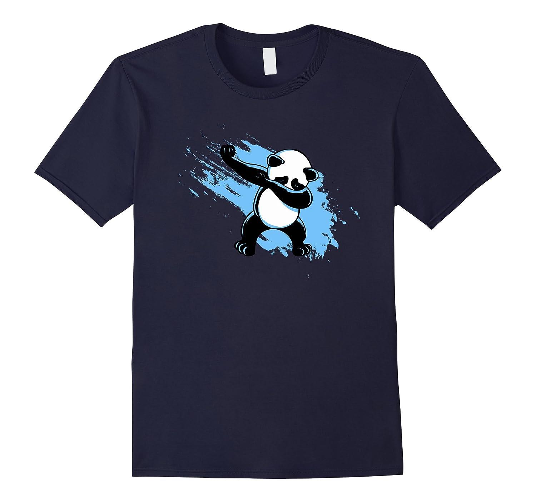 Dabbing Panda T-Shirt - Artistic Blue Streak Animal Design-FL