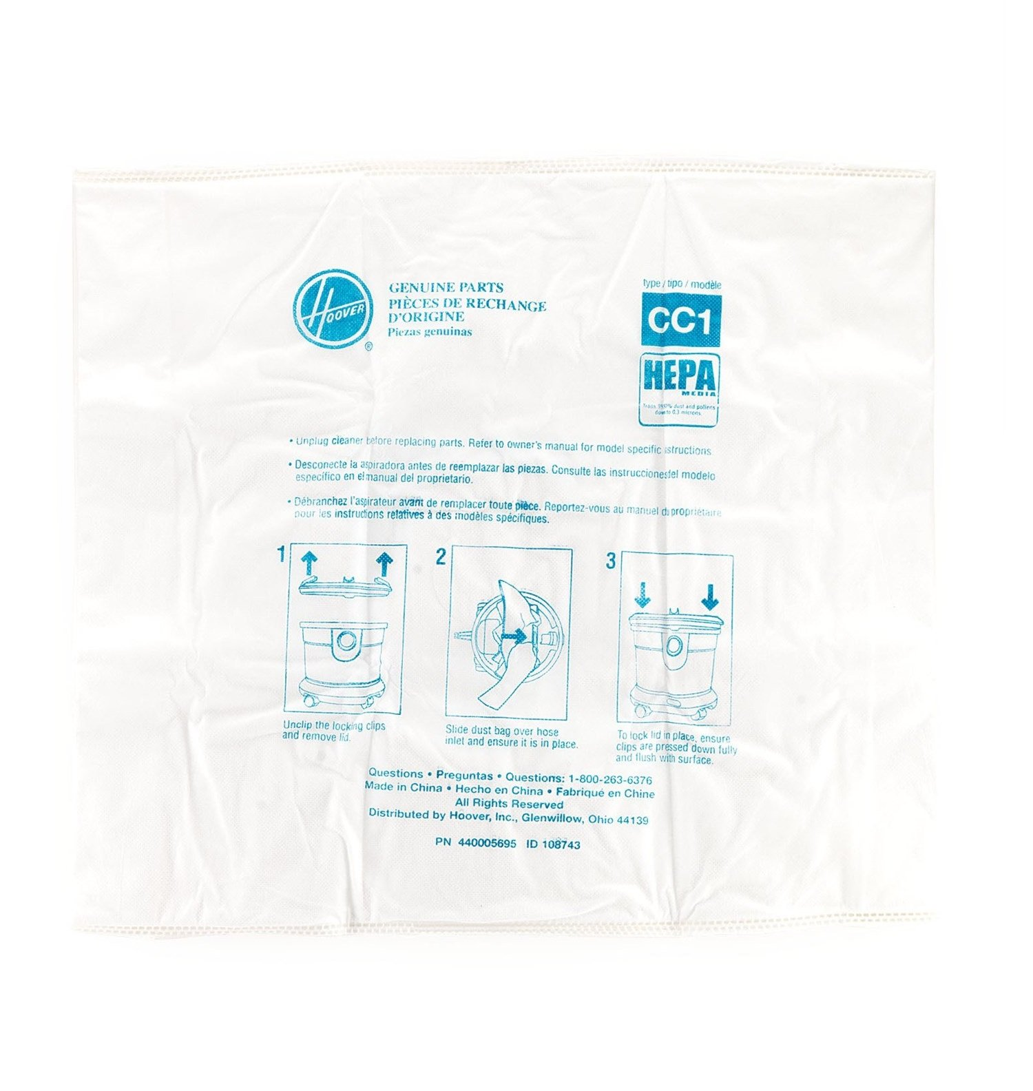 Hoover CH32008 HushTone CC1 Canister HEPA Certified Cloth Premium Bag, Part 440005751
