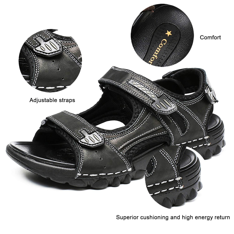 AONETIGER/® Sandales Homme Cuir Scratch Bout Ouvert /Ét/é Sport Sandales de Randonnee Marche