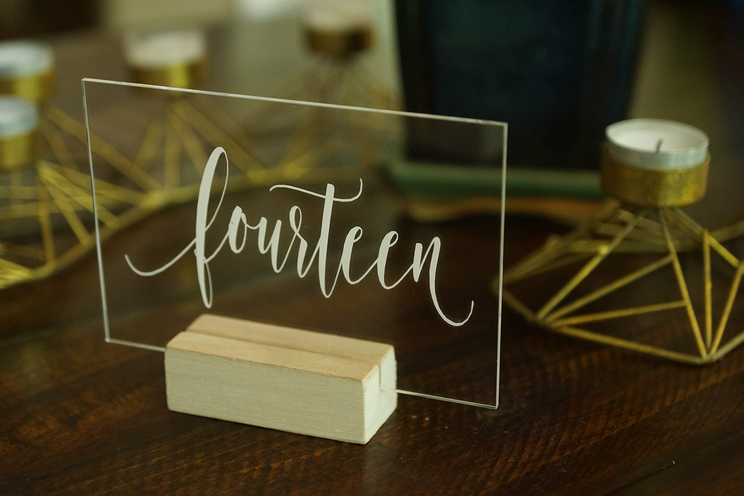 Set of 20 Acrylic Calligraphy Table Numbers   Wedding Event Shower Reception Restaurant   Glass like Clear Modern Formal Elegant Vintage Rustic   Sign Placard Card   Lettering Script Handwriting Print by Generic (Image #8)