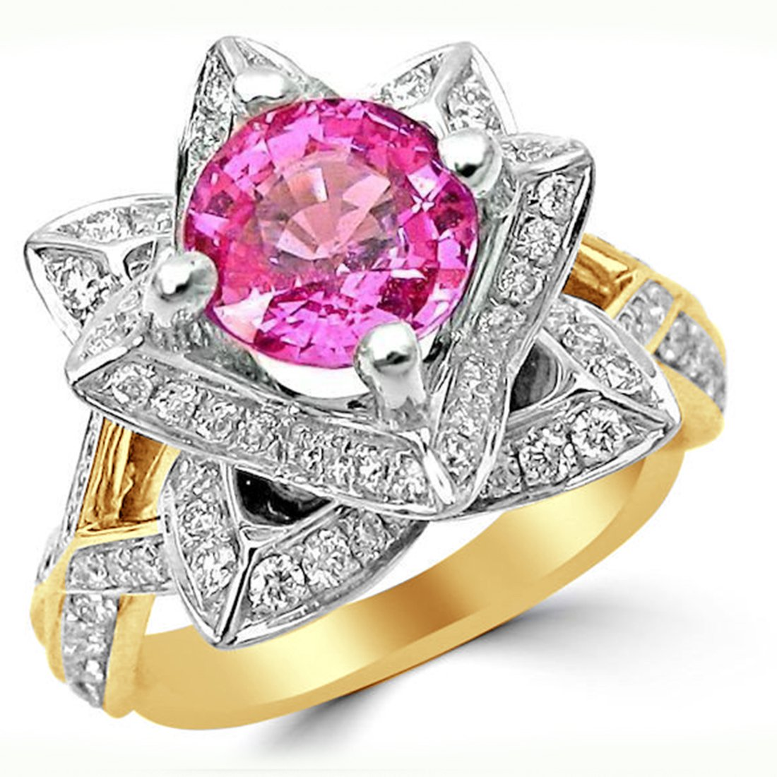 Smjewels 2.0 Ct Round Pink Sapphire & Sim.Diamond Lotus Flower Ring In 14K Yellow Gold Plated