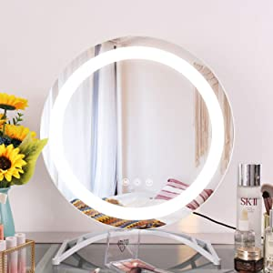 "COOLJEEN 15.7"" Hollywood Mirror Makeup Vanity Mirror Modern Round Mirror with Lights Tabletop LED HD Mirror with Metal Stand 3 Colors Light Mirror Decorative Cosmetic Mirror for Bedroom (White)"