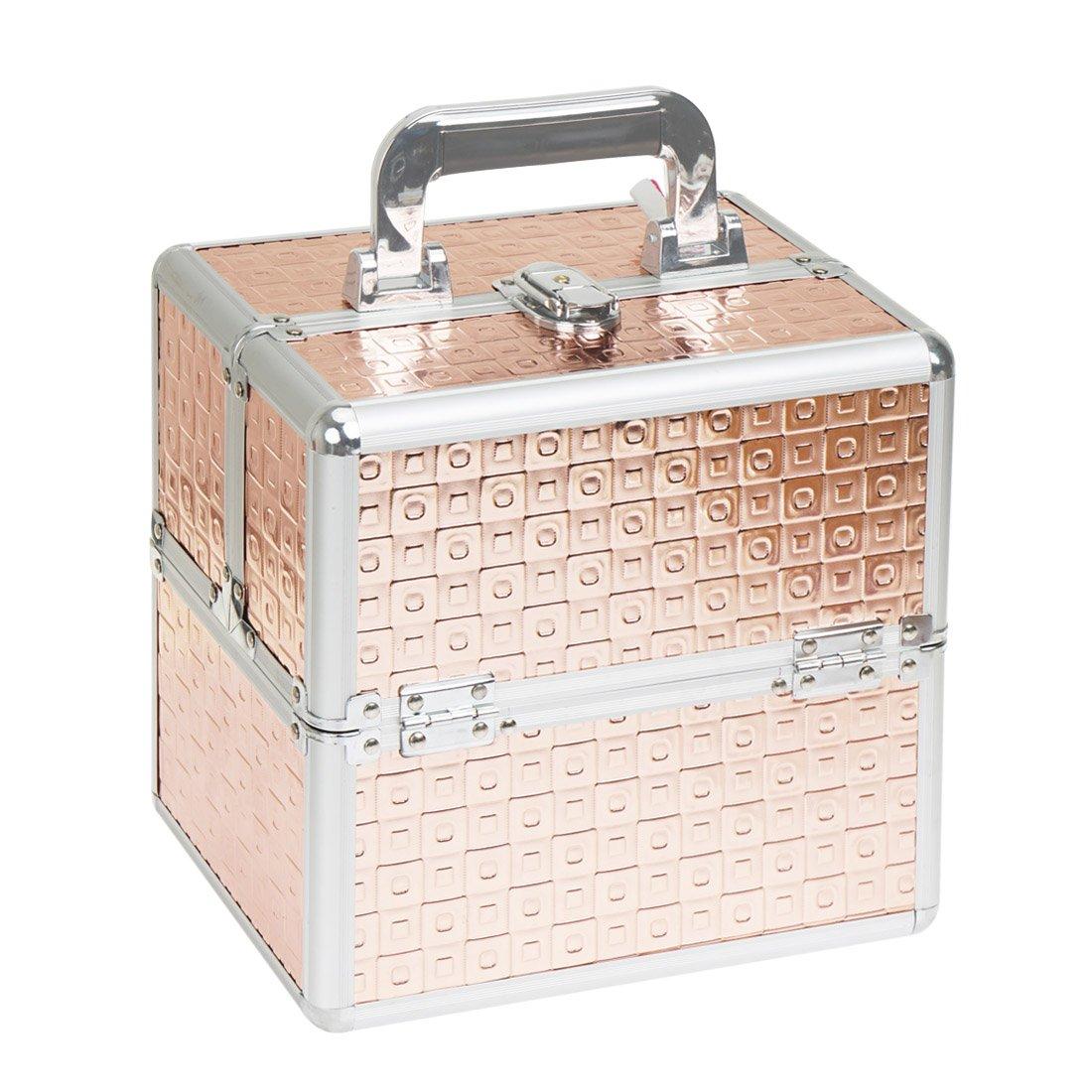 Makeup Train Cases Professional Large Make Up Boxes Artist Organizer Kit Makeup Cases (Gold) [ US STOCK ]