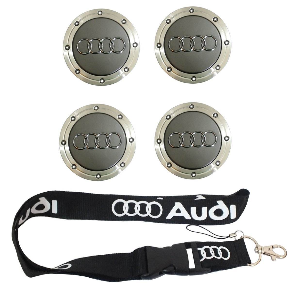 Nueva 1pcs Audi llavero Lanyard Badge Holder + 1 Set 4 ...