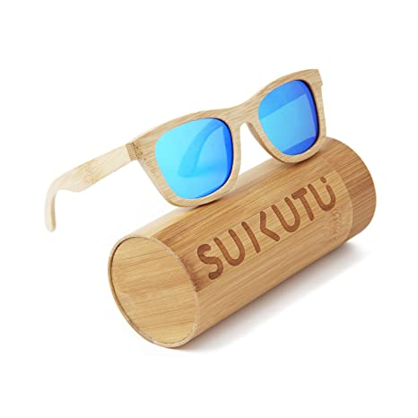 9b762e7f9e SUKUTU Bamboo Lightweight Wood Entire Frame Sunglasses Polarized Lenses  Mens Womens Eyewear Floating Style Glasses (