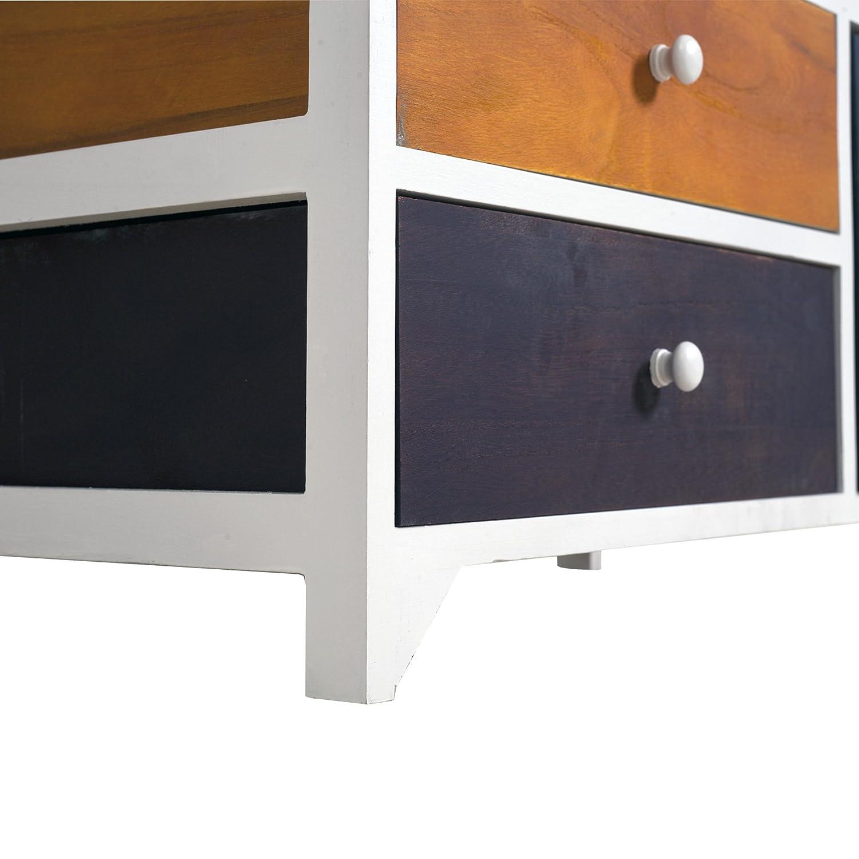 Stile Vintage Industrial Rebecca Mobili Cassettiera mobiletto 6 cassetti di Legno Bianco Marrone Rosso - Art RE4337 Camera e Soggiorno HxLxP Misure: 52 x 65 x 33 cm