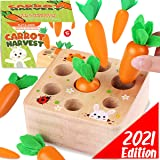 Cheffun Wooden Montessori Toys for Toddlers - 1 Year Old Baby Toy Carrots Harvest Shape and Sizes Sorting Wooden Puzzle Block