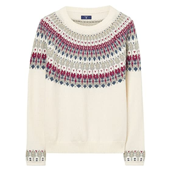 GANT Cotton Wool Fairisle Crew Neck Womens Jumper at Amazon ...