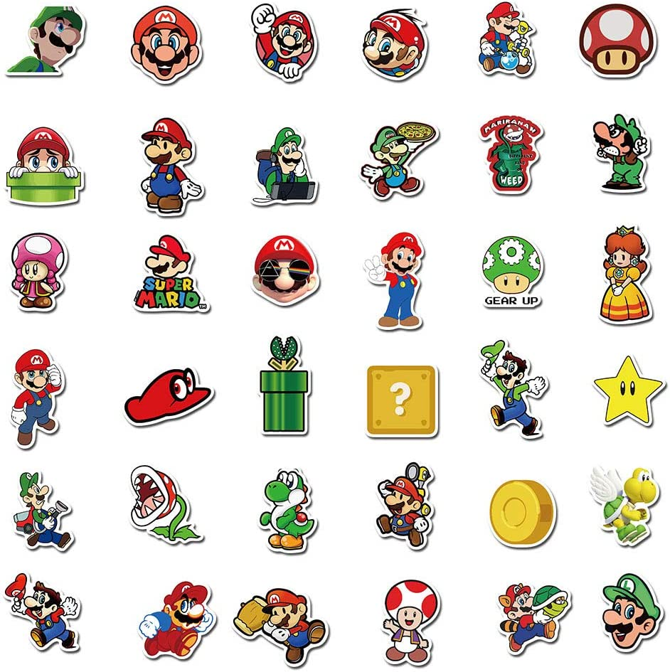 Adesivi Super Mario 100 pezzi Anime Impermeabili per Laptop Bottiglia Dacqua Tazza per Auto Computer Chitarra Skateboard Bagagli Paraurti per Bici Regalo per Bambini