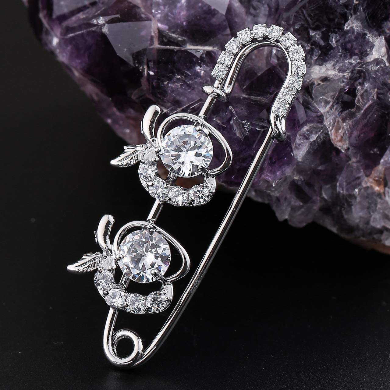 Jovivi 3-5pcs Clear Cubic Zirconia Crystal Floral Feather Safety Pin Brooches Suit Sweater Scarves Scarf Brooch Charm