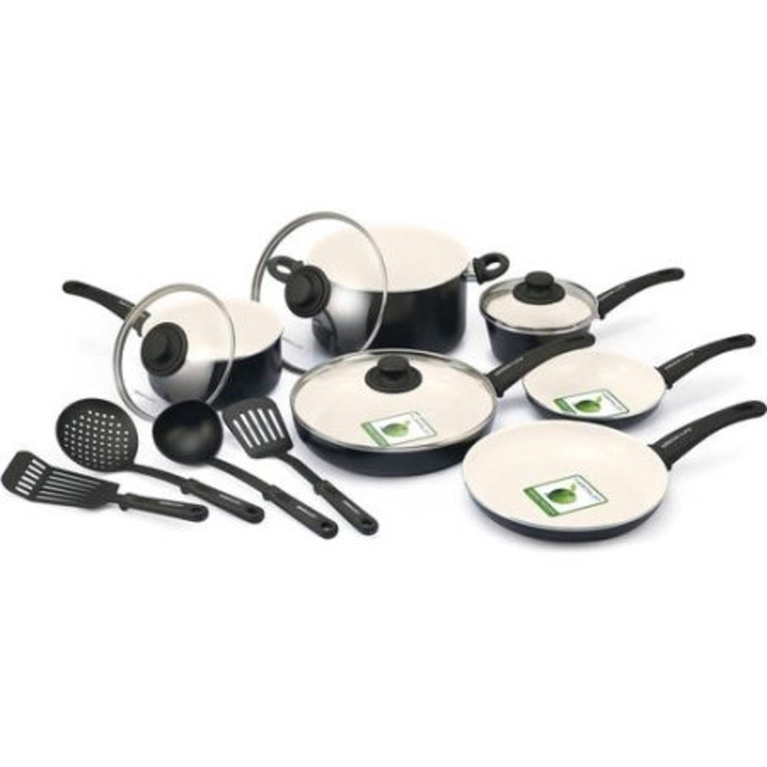 14-Piece Black Ceramic Thermolon Non-Stick Ergonomic Handles Cookware Set