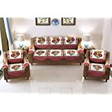 Luxury Crafts™ 5 Seater Polycotton Sofa and Chair Cover with 6 Pcs arms(Net Sofa Cover Set -12 Pieces) (Maroon & Green)