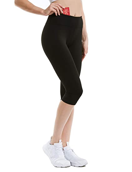 24363dd98512f3 ANBENEED Middle Waist Knee Length Workout Power Flex Capri Leggings for  Women Non See Through Buttery