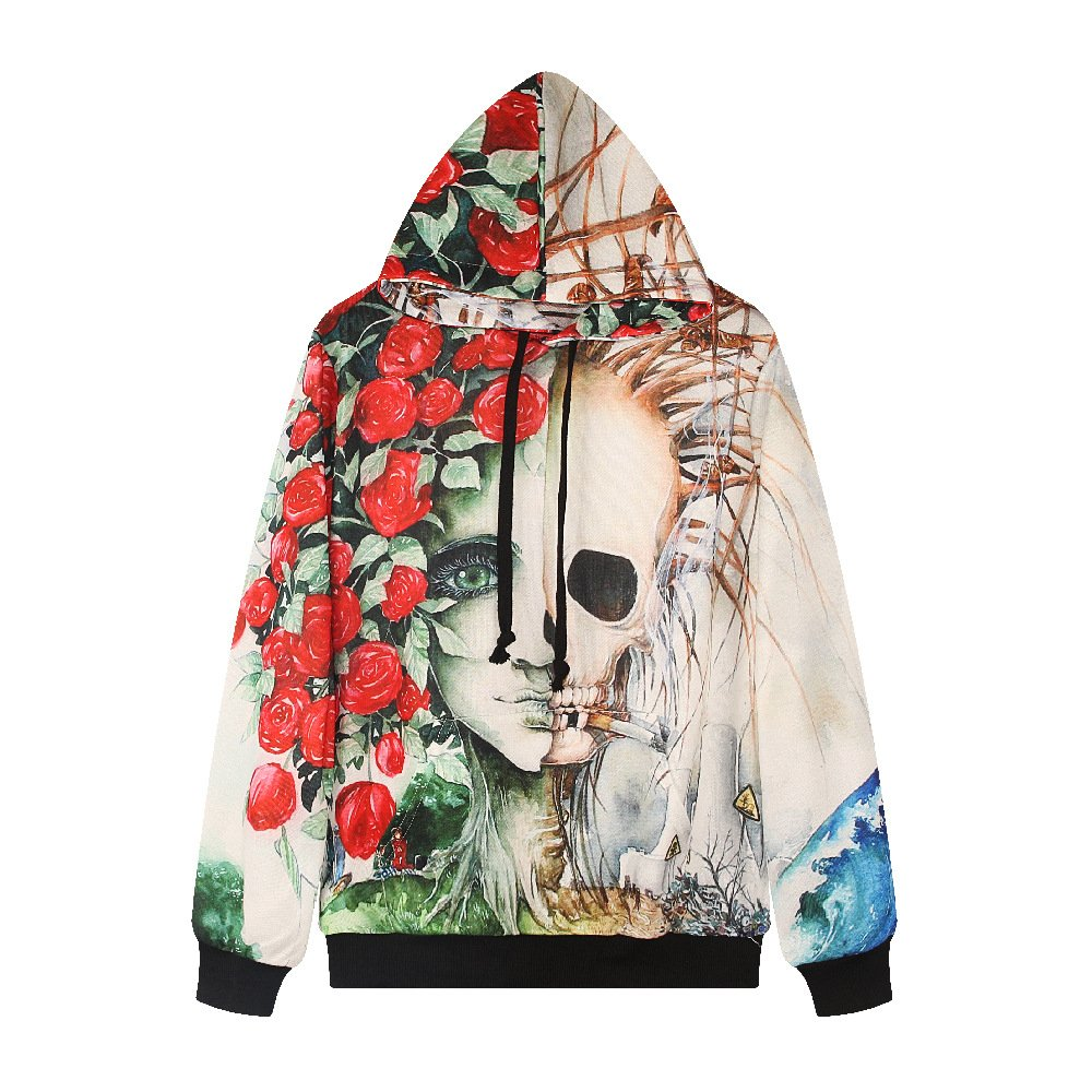 Giles Jones Womens 3D Skull Rose Printed Hooded Pullover Long Sleeve Sweatshirt Blouse Plus Size at Amazon Womens Clothing store: