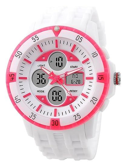 carlien Unisex cuarzo Digital resistente al agua color blanco suave silicona goma relojes: Amazon.es: Relojes