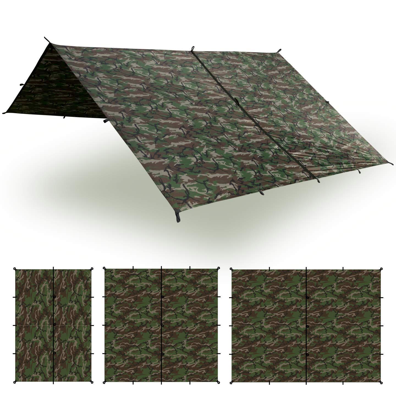 Aqua Quest Safari Tarp - 100% Waterproof Lightweight SIL Nylon Bushcraft Camping Shelter - 10x7 Camo by Aqua Quest