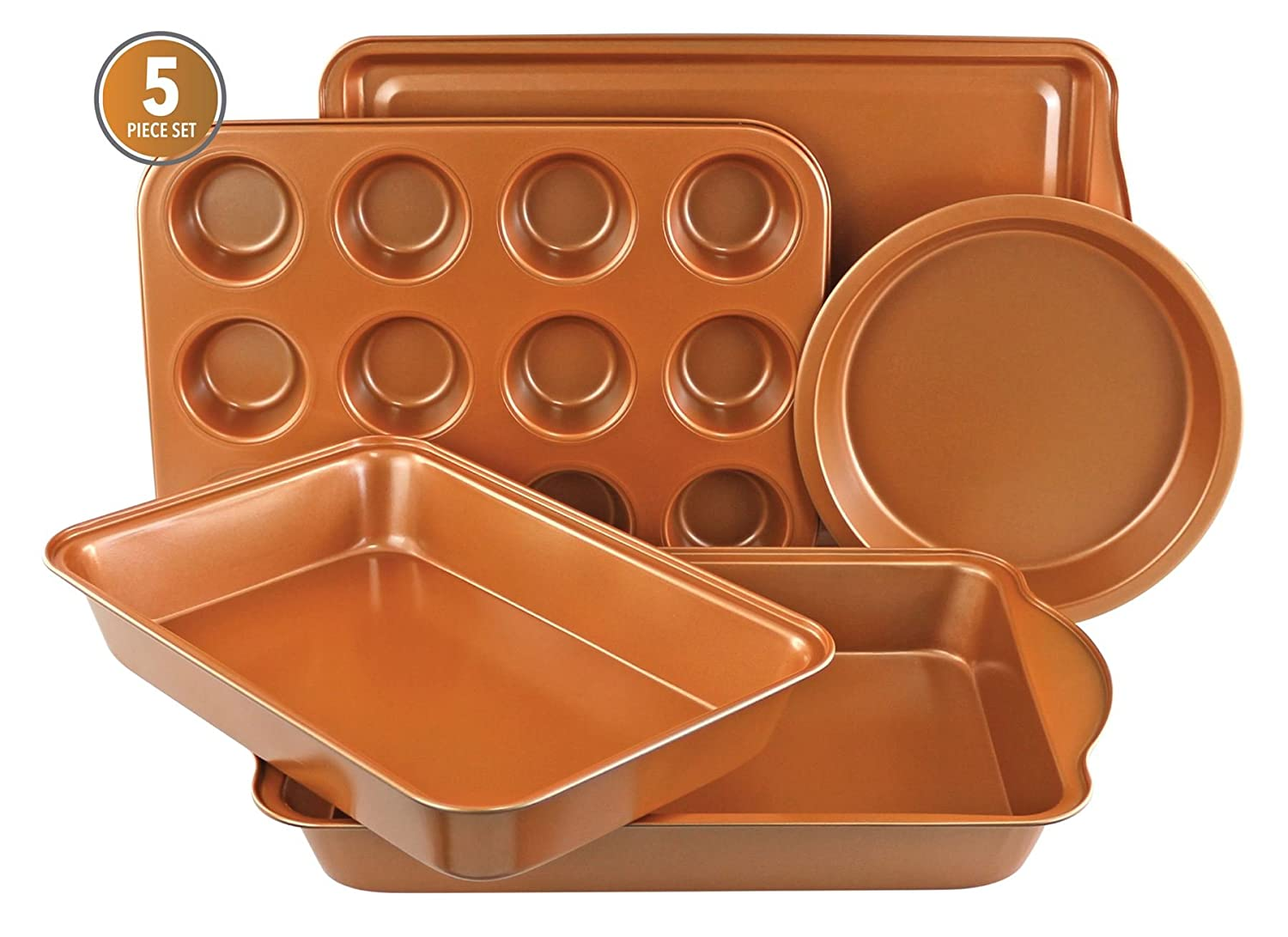 Gr8 Home Non Stick Copper 5 Piece Cake Baking Tin Roasting Oven Biscuit Cupcake Muffin Tray Baking Pan Set Ovenware Cookware Dreamland Products HK Ltd