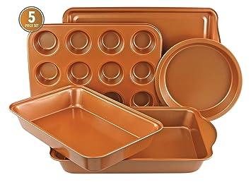 GR8 Home kupfer nicht klebend Keramik 5 Teile Kuchen Backform r/östen Ofen Kekse Muffin Ablage Backform Set Backform Kochgeschirr