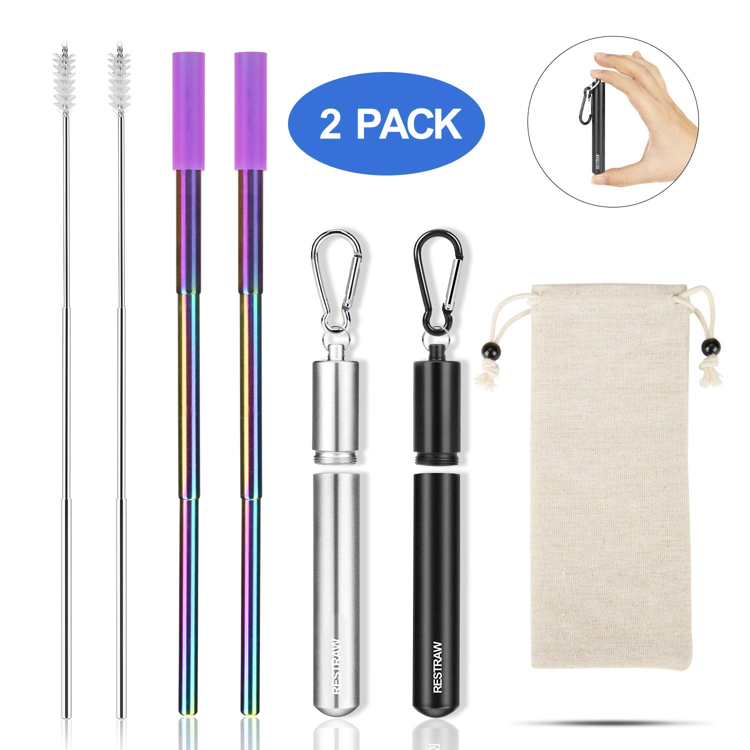 RESTRAW 2 Pack Collapsible Straw Reusable Collapsible Straw keychain metal straw with case,Rainbow Stainless Steel Straws,save the turtles straw foldable straw portable straw,BPA Free FDA Approved