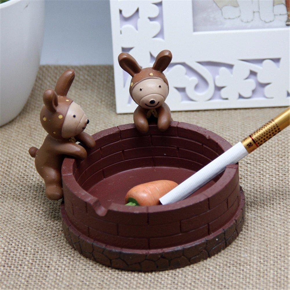 ZHAS Animals Ashtray Birds Monkey Ashtrays Resin Living Room Bedroom Household Smoking Cups, Rabbits